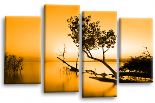 Sunset Landscape Wall Art Picture Orange Cream Canvas Split Panel